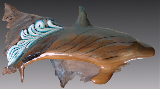 Speed - a beautiful driftwood sculpture of a dolphin